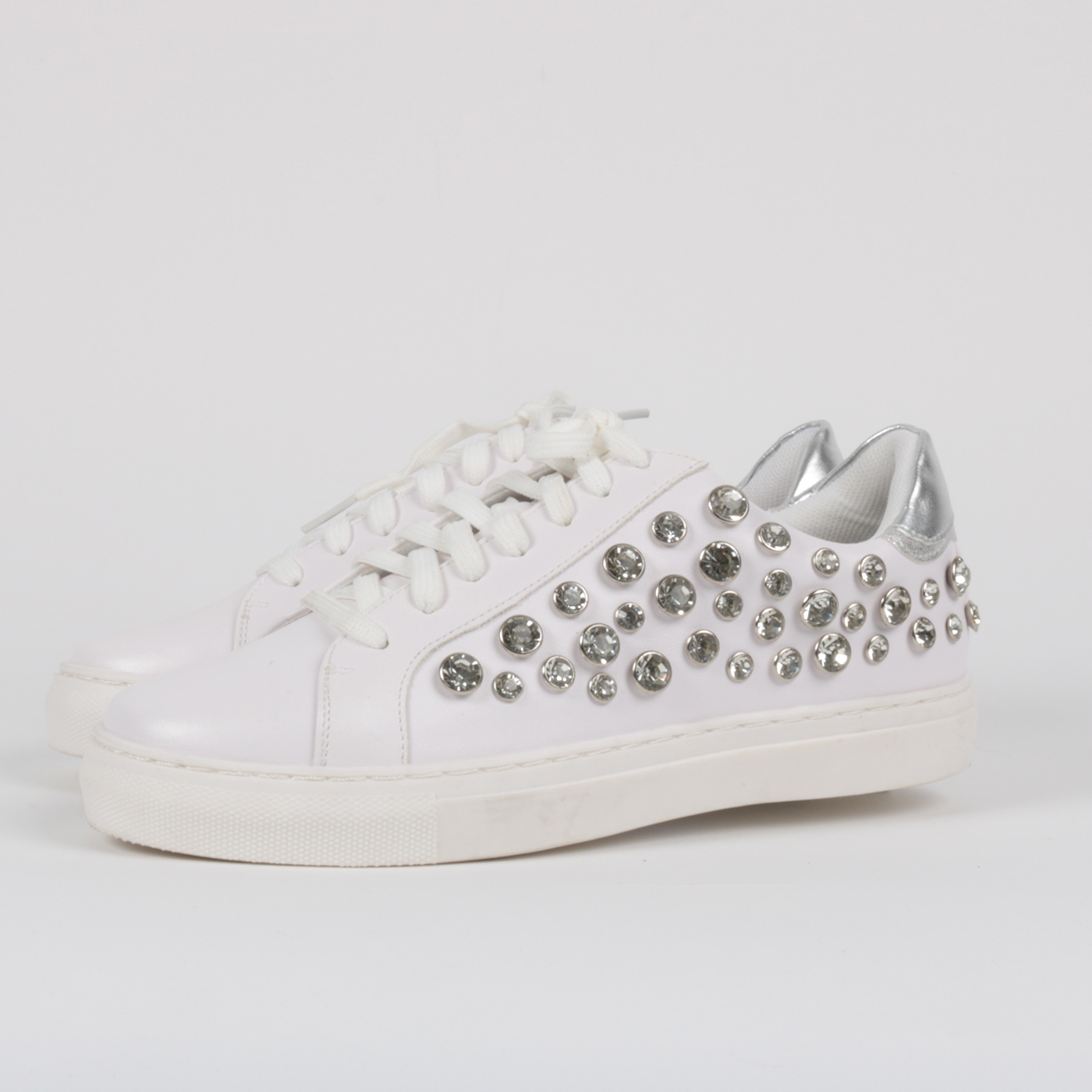 best website 55ed9 a496a Gavì - Sneakers piattaforma con strass ornamentali - Bianco
