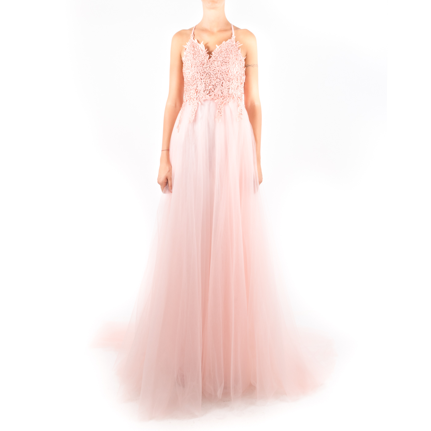 huge discount a43ed 23221 Phy - Vestito da cerimonia con gonna in tulle e corpetto con pizzo e  brillantini - Rosa, Bianco
