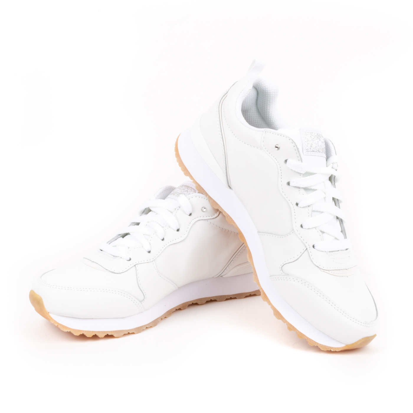 Skechers - Sneakers Donna stringate con brillantino e soletta in memory foam - Bianco